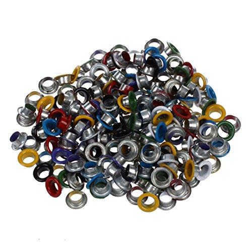 SODIAL(R) 200 Metall bunte runde oesen/Eyelets/Nieten gemischte Farben 9mm