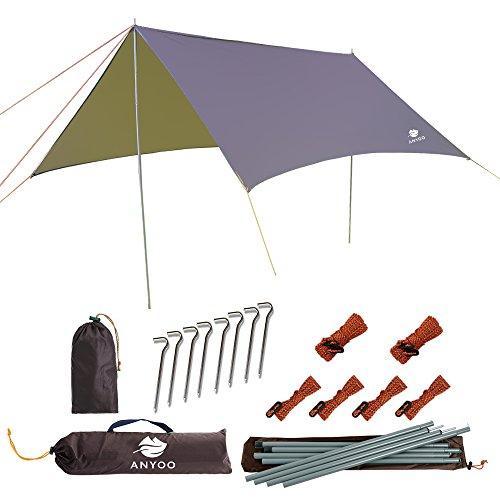 Anyoo telone in nylon ripstop da spiaggia anti-pioggia tenda parasole per amaca 3 × 3 mt. copertura impermeabile leggera da campeggio ed escursionismo zainetto per pali e picchetti inclusi