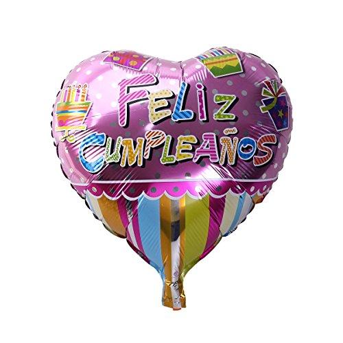 NUOLUX 18 pulgadas en forma de corazón española feliz cumpleaños Foil Mylar globos para la decoración de la fiesta de cumpleaños (5)