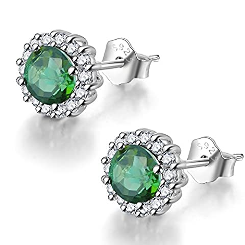 COLORFEY 925 Sterling Silver Green Earring Studs Handmade with White Rose Gold Plated Round Luxury Tourmaline Gemstone Quality Jewellery Gift for Women