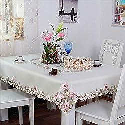 SONGHJ Elegante poliéster Satinado Bordado Rosa Margarita Mantel Bordado Floral Mantel Cubierta de superposiciones decoración para el hogar Textil 80x130cm Blanco