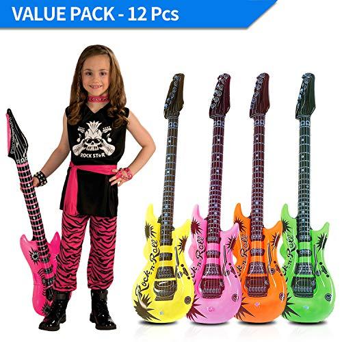 Novelty Place Juego de Guitarra Inflable Estrella de Rock de 89 centímetros para Accesorios de Fiestas Infantiles, Juguetes Inflables (Paquete de 12)