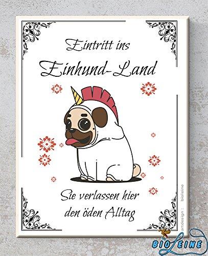 Bio-leine Keramik-Schild - Eintritt ins Einhund-Land - Wandbild mit Spruch- Hund -perfektes Geschenk für Freunde- Familie - Druck - Dekoration Handmade (Deco-keramik-fliese)