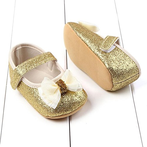 Hunpta Neue jungen Lauflernschuhe Kleinkind Mädchen Bowknot leuchtende Pulver weichen Sohle Krippe Schuhe Babyschuhe (12, Gold) Gold