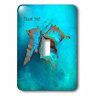3dRose LSP_77285_1 Elegant Maple Leaf Thank You, Aqua Single Toggle Switch