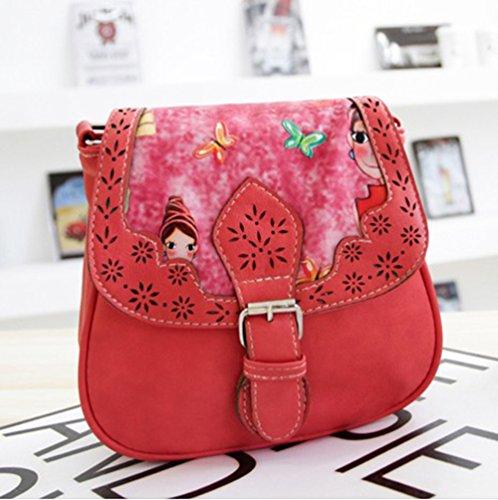 YouPue Damen Handtasche Kleine Umhängetasche Pu-Leder Tragetaschen Retro Clutch Tasche Kuriertasche Schultasche Rot