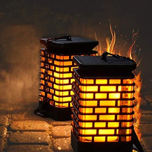 ZHAO YING Solarlaternen-Lichter im Freien, hängende Laternen-Tanzen-Flammen-flackernde Garten-Dekorations-Lampen-Plattform-wasserdichte LED-Landschaftsdämmerung (Color : Black) -