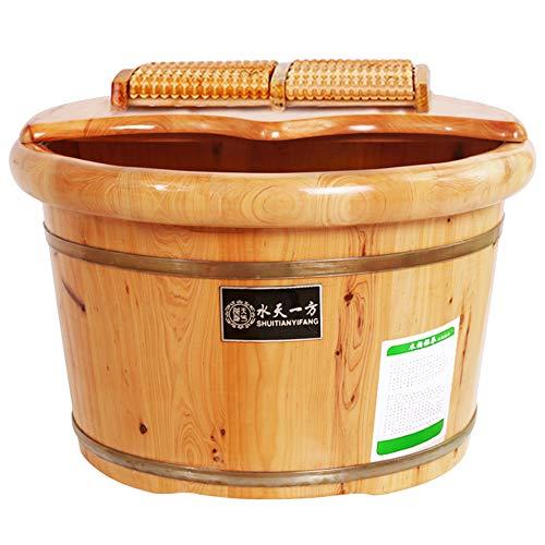 Preisvergleich Produktbild MERRYHE Gesundheit Fußbad Bucket Thick Cedar Wood Fußbad Badewanne Für Einweichen Füße Massager Füße Becken Spa Mit Deckel Und Massage-Rollen, A-41 * 26cm