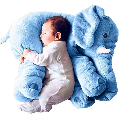 Cojín de peluche para bebé o niño, diseño de elefante azul azul