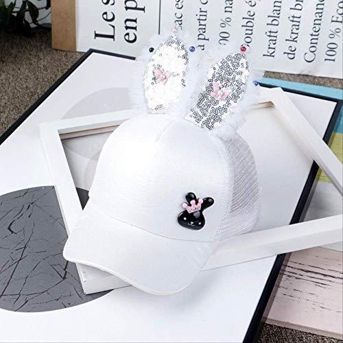 qqyz Kinder Net Hut Jungen Und Mädchen Styling Mütze Kaninchen Ohr Sequins Net Hut Ist Ausflug Baseball-Kappe Baby Schattierung Cool Hut 50-52CM anpassbar Kaninchen Weiß (Erwachsene Weiße Kaninchen Hut)