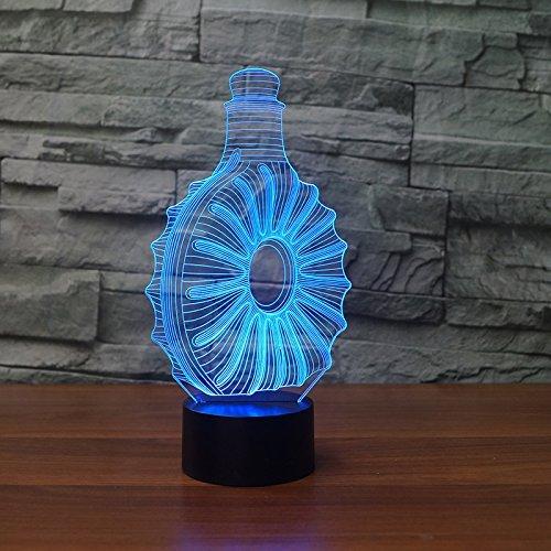 3D whisky - flasche Optische Illusions-Lampen, Tolle 7 Farbwechsel Acryl berühren Tabelle Schreibtisch-Nachtlicht mit USB-Kabel für Kinder Schlafzimmer Geburtstagsgeschenke Geschenk -