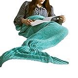 Ashanlan Meerjungfrau Kuscheldecke Wolldecke Flossen-Decke Wohndecke Tagesdecke Strickdecke Schlafdecke Schmusedecke Blau Türkies 140 * 70 cm