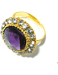 Diva Traditional & Ethnic Gold Plated Finger Ring For Women PURPLE (Adjustable)