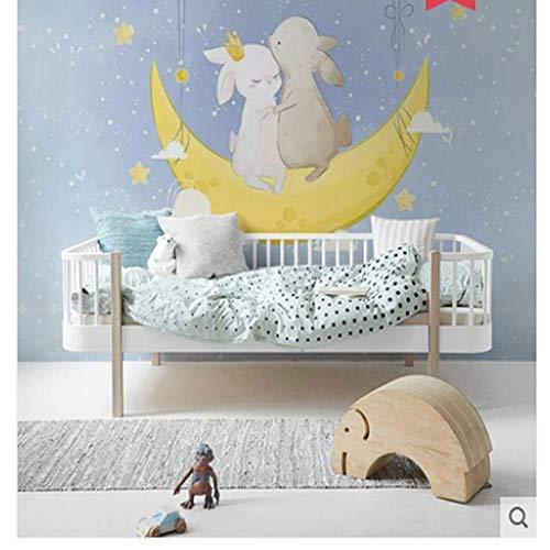 Fototapeten Wandbilder Net Red Wallpaper Moon Bunny Cartoon Kinderzimmer Nette Einfache Nahtlose Wandverkleidung Schlafzimmer Hintergrund Tapete,400 * 280cm