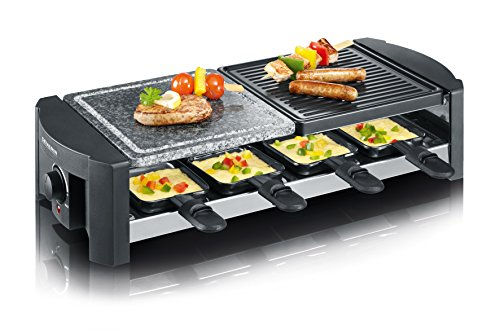Severin RG 2683 8 Pan Raclette with Plate and Natural Grill Stone, 1300 W, Black