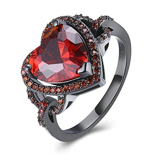Gnzoe Schmuck Schwarz Mental Überzogen Damen Ringe Herz Form Trauringed Verlobungsringe Band Ring Rubin Gr.57 (18.1) (Rubin-gold-ring Für Männer)