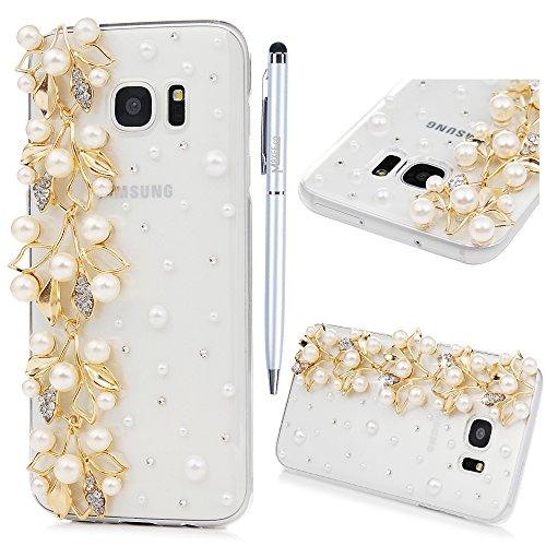Custodia per Samsung Galaxy S7 Edge,Trasparente Fatto a mano 3D Glitter Bling Strass Cover Rigida Plastica Hard - MAXFE.CO Case Cristallo Diamante Plastica PC Duro Protettiva - Perle, Fiori