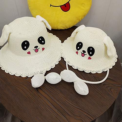 geiqianjiumai Ohren bewegen Kaninchen Fischer Hut weibliche Eltern-Kind-Sonnenhut Kinder Schatten Strohhut weiße - Weißes Kaninchen Kostüm Weiblich