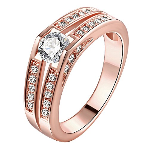 Berühmt Modeschmuck Designer (Frauen vergoldete Finger Ring Zirkon Diamant Marke Modeschmuck (rose vergoldet, europäische Größe)