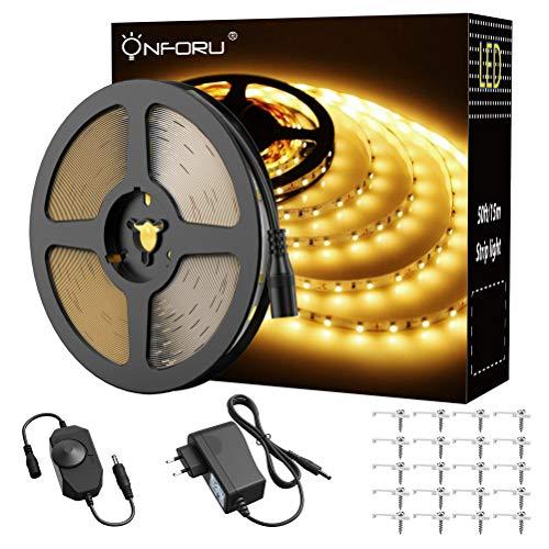 Onforu 15M LED Streifen mit Netzteil, LED Strip 450 LEDs Lichtband mit AN/AUS-Schalter, Selbstklebend LED Band, 3000K Kaltweiß, Innen-und Außenbeleuchtung für Haushalt Küche Deko