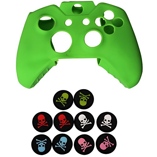 eJiasu Soft Silicone Rubber Protective Case Skin with Skull Style Silicone Joystick Thumb Stick Grip Cap Cover for Xbox One Handle Controller (1PC Green Protective Skin+5 Pairs Joystick Covers)