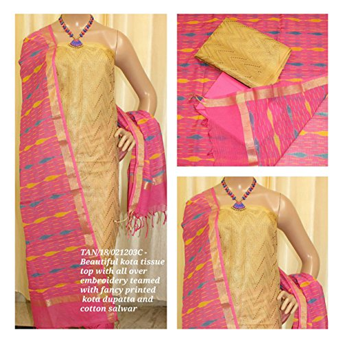 Avni Fashion New Beautiful Kota Tissue Top with all over Embroidery teamed...