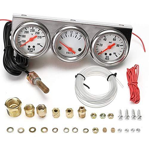 """Universal 2,27""""Wassertemperatur Spannung Volt Öldruck PSI-Messgerätesatz 3 in 1"""