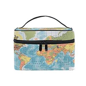 Bolsa de maquillaje, diseño de mapa del mundo impreso cosméticos para almacenamiento de artículos de aseo, bolsa de almacenamiento organizadora extra grande con asa de viaje personalizada con compartimentos para mujeres y adolescentes