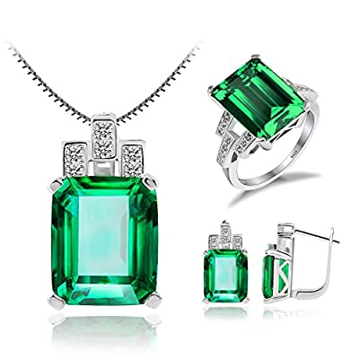 Schmuck Set Russisch Smaragd Anhänger 45cm Box Kette Halskette Ohrring Silberring Ring 925 Sterling Silber