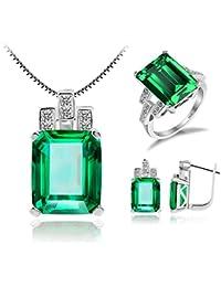 Jewelrypalace Schmuck Set Simulierte Nano Russisch Smaragd Anhänger 45cm Box Kette Halskette Ohrring Silberring Ring 925 Sterling Silber