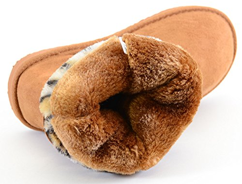 Funky Fourever da donna in pelle scamosciata sintetica, motivo leopardato, con fibbia, Polsini di pelliccia, caldo Beige (A-Camel)