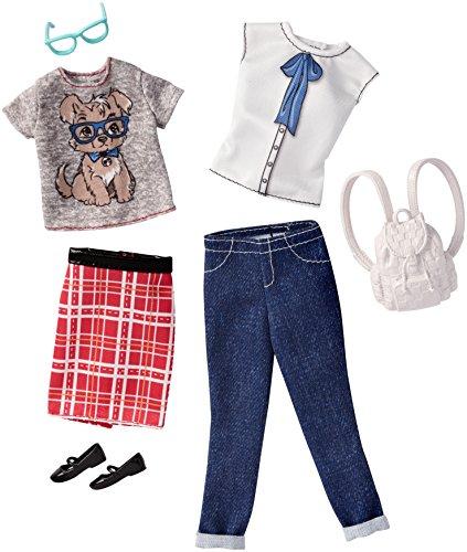 DWG43 - Original Barbie Fashion Chick 2er-Pack Mode, Kleider Sortiment, Set mit 2 Outfits inkl. Schuhe, Schmuck u. Tasche