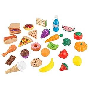 KidKraft 63509 Surtido de comida de juguete con 30 piezas de alimentos, juego de imitación para niños con accesorios incluidos