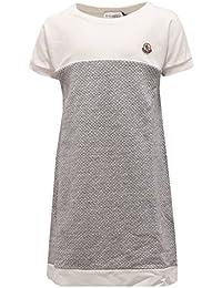 3436S vestito bimba MONCLER abito grigio/bianco mezza manica dress kid