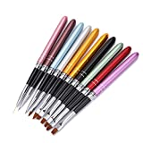 10 Teile / satz HONGNUO Nail art Pinsel Set Verschiedene Größen Kupfer Griff Design Polnischen Nylon UV Gel Malerei Nagel Pinsel LUFA