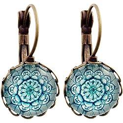 Miss Lovie–Pendientes hojas pendientes Leaf cabochon 12mm Pendientes de hojas diseño azul