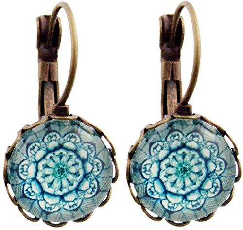 Ohrhänger Hängend Ohrstecker Damen Ohrschmuck Blumen Cabochon Rund 12mm Frauen Mutter Schwester Modeschmuck Türkis Bronze