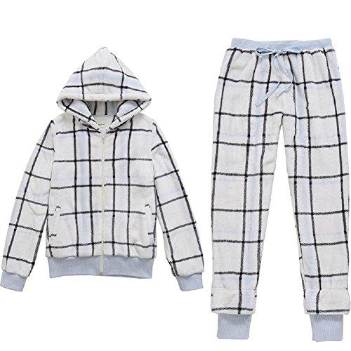 DMMSS Delle ragazze delle donne 'caldo d'inverno carino casa morbida flanella a quadri fumetto 2-pigiama pezzo set , figure color , s