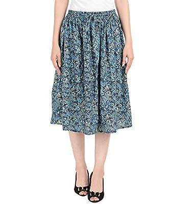 COTTON BREEZE Women's Rayon Midi Skirt (FP622, Multicolour, Free Size)
