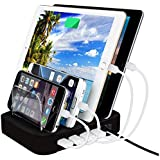 Cable World® 4 Port USB Charging Station Desktop Charging Stand Organizer Multiple USB Charger for iPhone iPad Smartphones Tablets (65W) (Black)