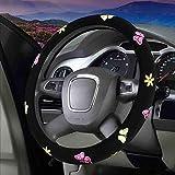 CAADDGY Copertura del volante del fumetto Ricamo del fiore Coprivolante per auto Coprivolante interno per auto Accessori per donnaFarfalla