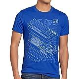 style3 C64 Heimcomputer Blaupause Herren T-Shirt Classic Gamer, Größe:XL, Farbe:Blau