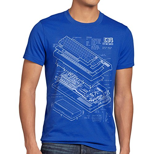 C64 Home Computer Blueprint Men's T-Shirt, Choice of 4 Colours, S to 5XL