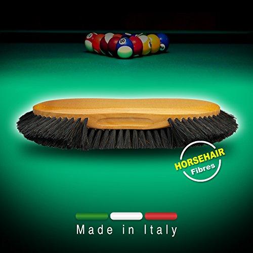 Cepillo para la limpieza del paño de billar reforzado con crin de caballo. Made in Italy.