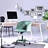 Innovareds Velvet Fabric Swivel Office Desk Chair Height Adjustable Dining/Office Chair with Back/Arm Support - Dark Aqua