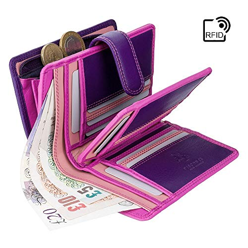 Visconti Damen Geldbörse aus Leder, Regenbogenfarben, mit Mehreren Fächern, RFID-sicher, RB51 Beerenfarben 9cm X Height 13cm Depth 3.5cm