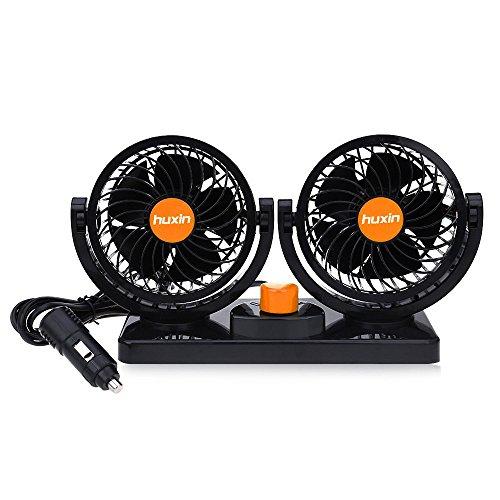 24V Dual Air ventilador 360° todos los redondo rotación Automotive enfriador de...