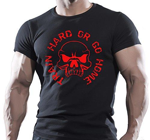 Train Hard or Go Home Teschio Bodybuilding motivazione T-Shit Red L