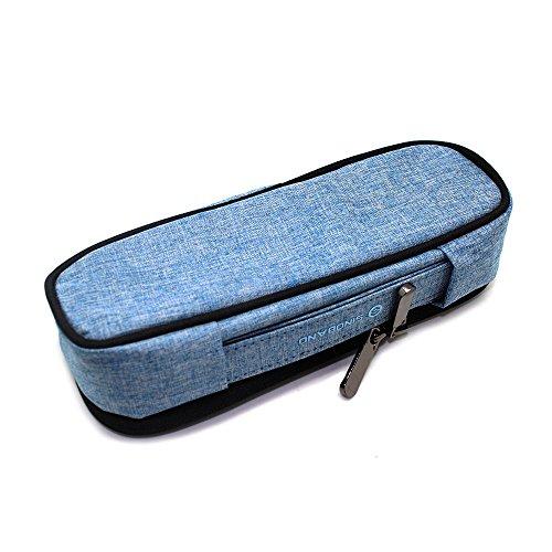 GRT tela materiale, fatti a mano, Astuccio, stiftem Appe, tasche, oggetti per tinta unita Ufficio Scuola, adatto per tutti i manici estremità Blu 23 * 6,5 * 7 cm Blau