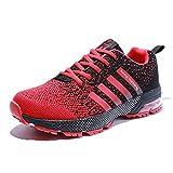 Senbore Chaussures de Sport Basket Running Respirantes Athlétique Sneakers Courtes Fitness Tennis Homme - Rouge-3 - 47 EU